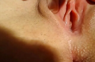 Tight dripping wet pussy closeup