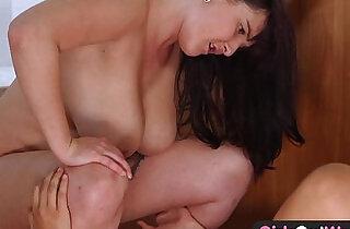 Huge titted amateur having lesbian sex