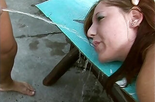Brutal pissing and fuck in the garden