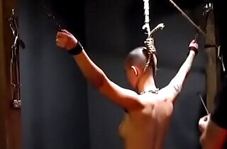 Owned slave gets her neck branded by her master