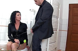 Piss whore gets cumshot