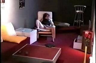 My mom masturbating in living room caught by hidden cam