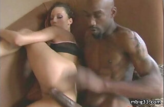 Oiled up hottie fucks a big black hard cock