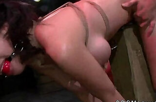 Tied to a post gagged Asian Kimmie Lee fucked hard from behind