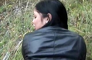 Flashing big tits and taking hard long black dick outdoors