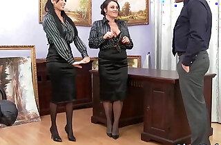 Glam office babes cumswap