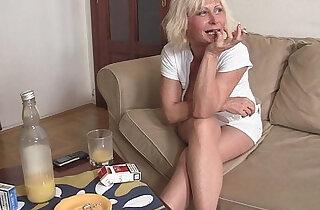 Hot blonde enjoys two fresh cocks