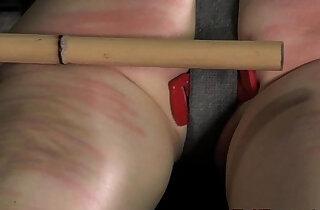 Electronic punished sub spanked hard