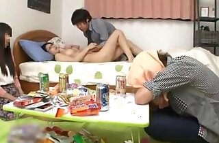 Japanese with perfect tits fucking a friend while her boyfriend sleep