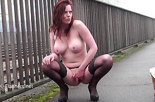 Exhibitionist housewifes public flashing of naughty masturbating voyeur redhead