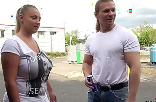 Chubby blonde wife with her black boobs convinced on the street to fuck in van