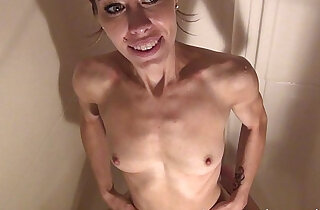 hot naked and wet skinny brunnete showering at home