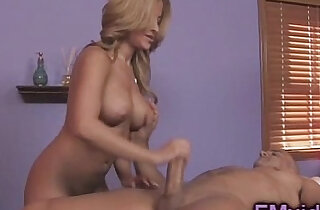 Gorgeous busty blonde amateur milf gives awesome massage