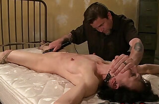 Gagged and tied sub in bdsm with her master