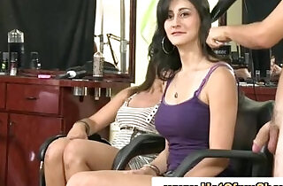 Clothed babes give naked guy a handjob in reality groupsex