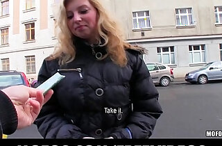 Shy blonde girl agrees to take cash for a public fuck