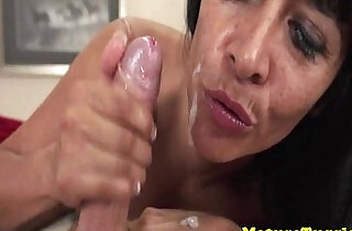 Mature milfs freckled face facialized